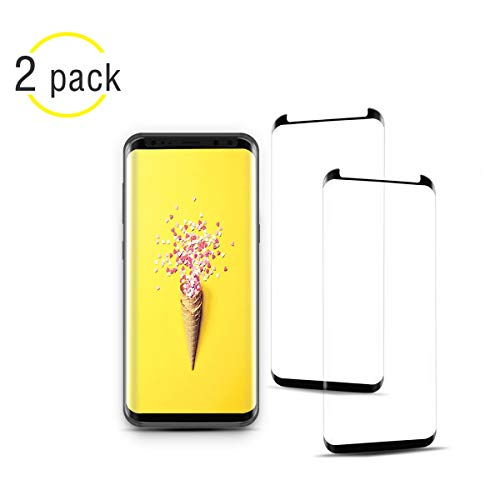 [2 Pack] NiceFuse Galaxy S9 Screen Protector, 3D Full Screen Coverage Glass [Curved] [Bubble-Free] [9H Hardness] [Anti-Scratch] Galaxy S9 Tempered Glass Screen Protectors Compatible Samsung Galaxy S9 by NiceFuse