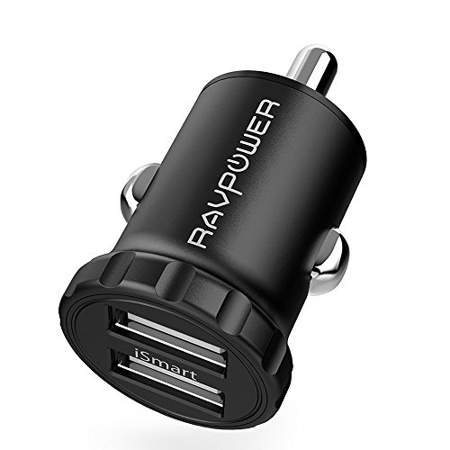 Car Charger RAVPower 24W 4.8A Mini Dual USB Car Adapter with iSmart 2.0 Charging Tech for iPhone X / 8 / 7 / 6s / Plus, iPad Air / mini, Galaxy S7 / Edge / Plus, Note- Black [Upgrade Version]