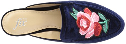 Slide Women's Midnight Loafer The Fix Navy Textile Fay Embellished Patch Flower Smoking B1I5w