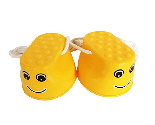 Outdoor Sports Toys Smiley Face Stilts 1 Pair YELLOW by Panda Superstore
