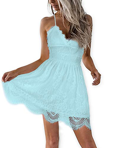 AOOKSMERY Women Summer V-Neck Spaghetti Straps Lace Backless Mini Party Club Beach Dresses (Sky, Medium)