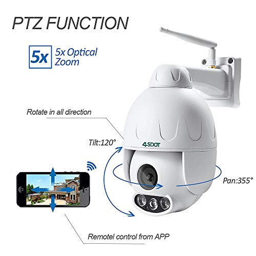 3MP Outdoor PTZ WiFi Security Camera,4SDOT Pan Tilt 5X Optical Zoom Security Dome Camera with 165ft Night Vision,IP66 Weatherproof Motion Alerts Two-Way Audio IP Camera Support Max 128GB SD Card