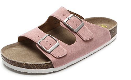 Pink 2 Strap - Womens Comfort Suede Upper Adjustable Two Buckle Straps Low Easy Slip On Cork Sandals Lighweight Summer Beach Two Strap Open Toe Slide Walking Shoes Pink Size 6
