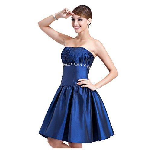 (StarGirl Custom Made Womens A-Line Princess Strapless Knee-Length Taffeta Cocktail Dress With Ruffle Beading Blue Size 16)