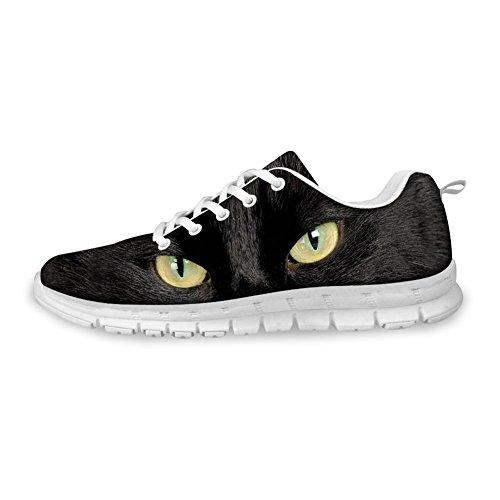 Bigcardesigns Dames Cat Loopschoenen Sneakers Black Cat