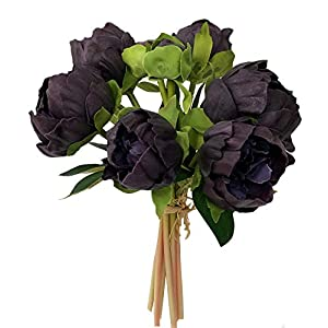 Angel Isabella, LLC Real Touch Peony Bouquet-6blooms 2buds Perfect for Home Decor Wedding, DIY Bouquet Corsage Centerpiece PU Realistic Feel (Plum) 82