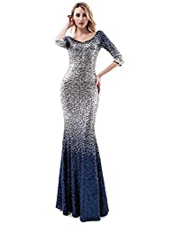 Navy Blue & Silver-3/4 Sleeves Ombre Sequins Mermaid Dress
