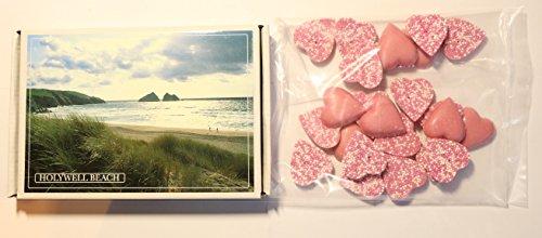 Ye Old Cornish Holywell Beach Chocolate Pink Hearts English