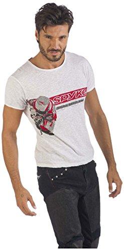 Spyke XMC1Original Bikers Jeans Shirt Herren, Kurzarm, Chalk–Chalk, XL