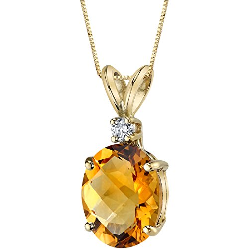 14 Karat Yellow Gold Oval Shape 2.25 Carats Citrine Diamond Pendant