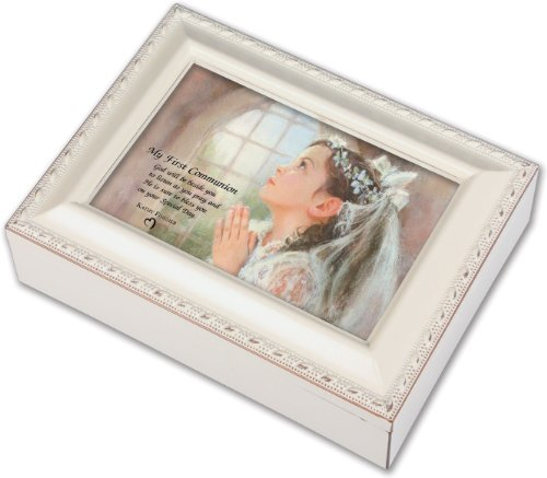 Frame Music Box (First Communion Girl Ivory Jewelry Music Box Plays Tune Ave)