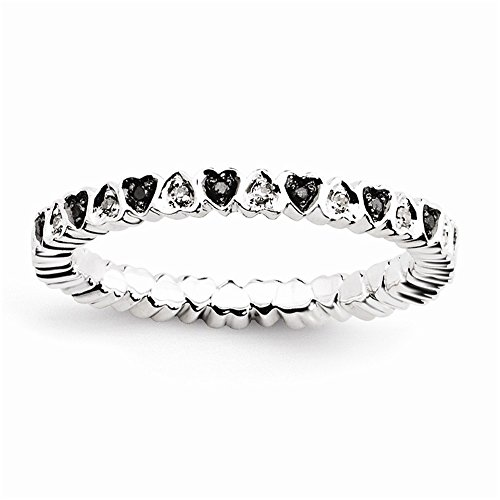 Sterling Silver Stackable Expressions Hearts Black & White Diamond Ring Size 9 by Jewels By Lux