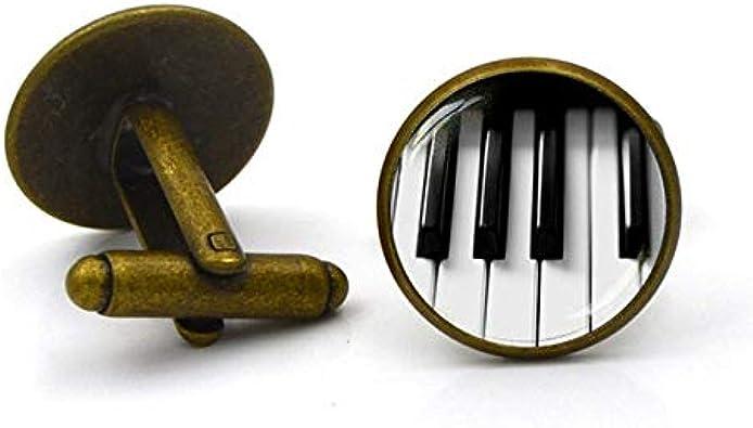 XIAMAZ Gemelos De Teclado De Piano para Hombres Accesorios De Joyería Música Regalo Arte Foto Cúpula De Cristal Camisa Gemelos: Amazon.es: Joyería