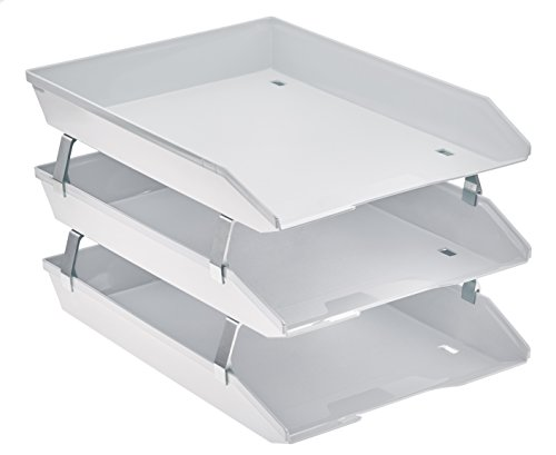 - Acrimet Facility 3 Tier Letter Tray Frontal Plastic Desktop File Organizer (White Color)
