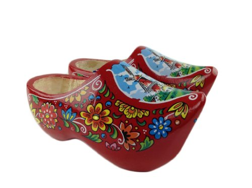 Wooden Shoe Clogs Dutch Windmill Red Design-6.5""