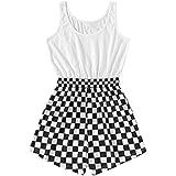 Verdusa Women's Casual Elastic Waist Sleeveless Checkered Romper Jumpsuit White XL