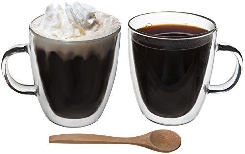 Artisan Glassworks Set of 2 Borosilicate Glass Coffee Cups w/ Handle & Free Wooden Cafe Spoon, 2-Pack Double Wall Insulated Hot or Cold Tea / Espresso / Beverage Mug, Two Piece 12 oz / 350 ml