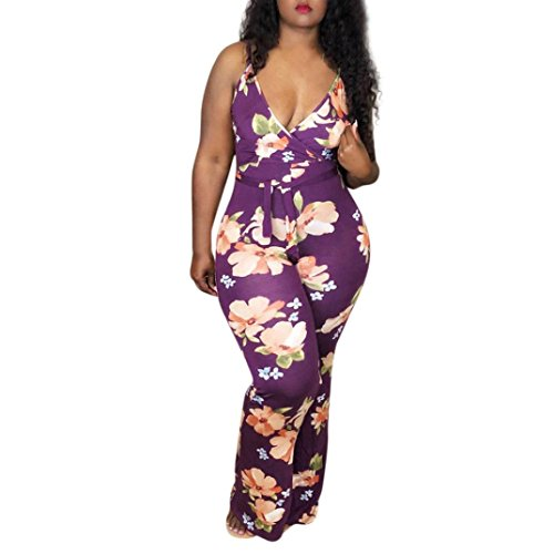 Minisoya Women Boho Floral Beach Romper Long Pants Playsuit Casual Party Backless Wide Leg Trouser Camis Jumpsuit (Purple, L) by Minisoya