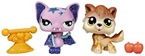 Hasbro Littlest Pet Shop Brillante + amiguita Lobo y murciélago - Mascota de juguete con purpurina con 1 amiguita