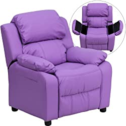 Flash Furniture Deluxe Heavily Padded Contemporary Embroidered Lavender Vinyl Kids Recliner with Storage Arms