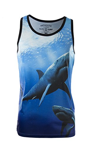 Pacific Surf Men's Tank Swimming with Sharks Print Slim Fit Muscle Shirt Large