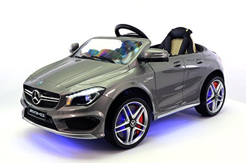Mercedes CLA45 12V Kids Ride-On Car MP3 USB Player Battery Powered Wheels RC Parental Remote + 5 Point Safety Harness | Metallic Grey by Moderno Kids (Image #1)