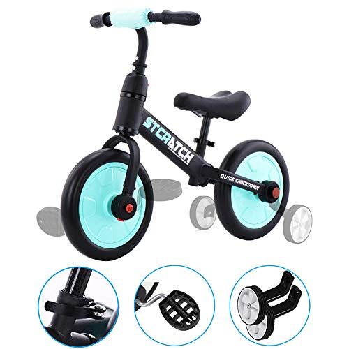 ZavoFly Balance Bike for 1-5 Years Old Boys & Girls, 4-in-1 Kids Tricycle with Training Wheels & Pedals (Sky Blue)