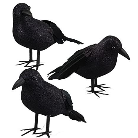 halloween black feathered crows ravens props decor halloween decorations birds set of 6