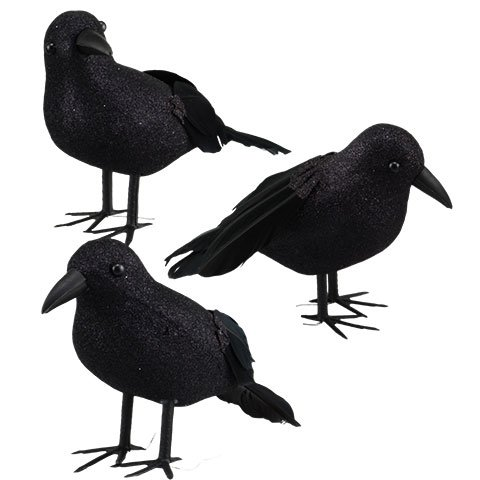 Black Glittered Small Halloween Crows- 3 Pc Black Birds with Real Feathers for Tails ()