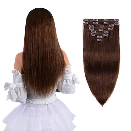 20 Remy Clip in Hair Extensions Human Hair Brown for Women Beauty - Long Silky Straight 8pcs 20clips Real Hair Extensions Clip In Human Hair (20 inch 100g #4 Medium Brown)