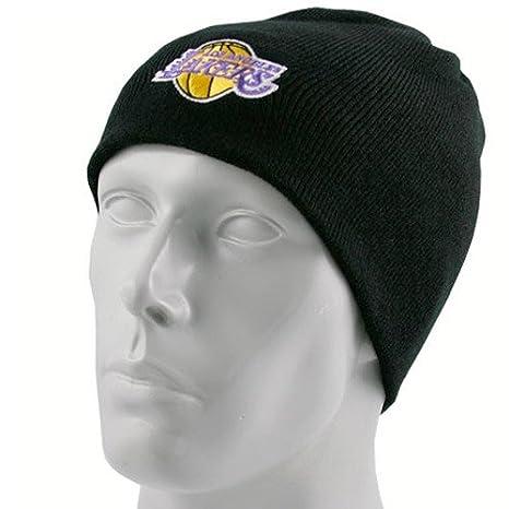 Amazon.com   NBA adidas Los Angeles Lakers Black Knit Beanie Cap ... 02fd7fe8e2e