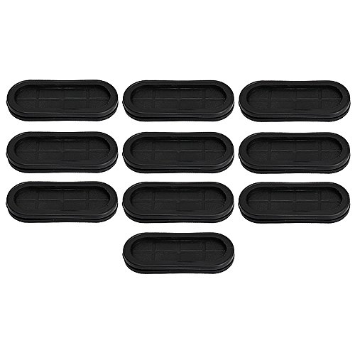 RDEXP 30x85mm Groove Black Synthetic Rubber Oval Shape Double-Sided Wires Grommet Gaskets Protector Rings Set of 10