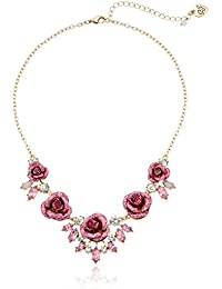 Womens Glitter Rose Necklace Rose