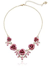 Betsey Johnson Womens Glitter Rose Necklace Rose