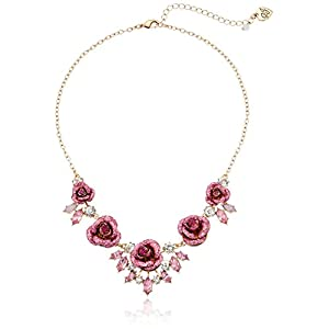 Betsey Johnson Glitter Rose Necklace Rose