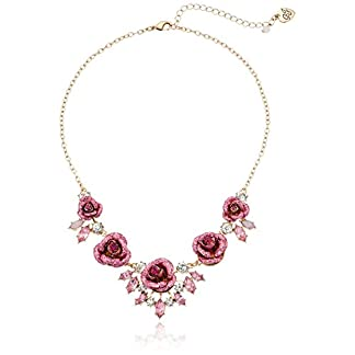 Betsey Johnson Women's Glitter Rose Necklace Rose
