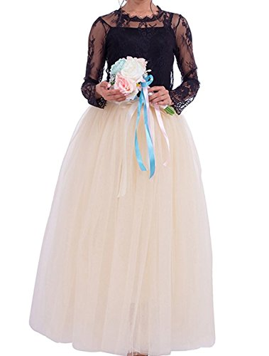 Macola Long Tulle Skirt, Women Floor Length Long Pleated Tutu Skirt for Ball Gown Wedding Party Prom Dress (Beige) by Macola