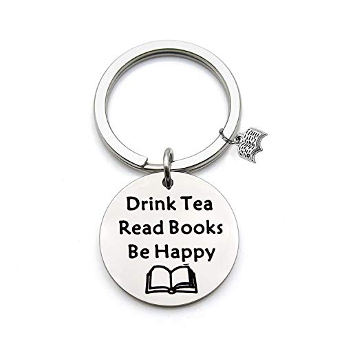 (FEELMEM Tea Lovers Gift Drink Tea Read Books Keychain Tea Party Gift Literature Book Lovers Jewelry Gift for Readers, Bookworm, Book Club (Silver))