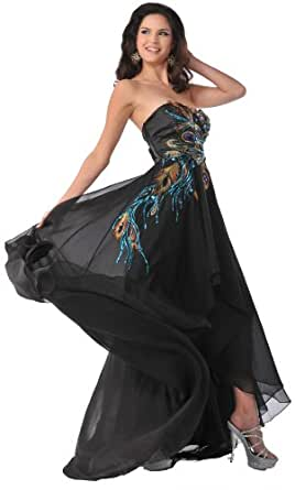 Meier 5846 Women's Strapless Peacock Embroidery Chiffon Gown (8)