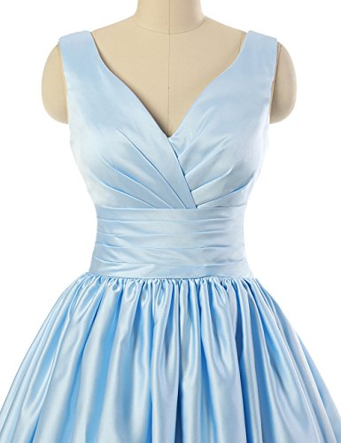 Neck JAEDEN Dresses Prom Short V Bridesmaid Satin Ruched Dress Champagne Gown TPw0Pqn