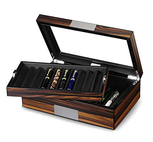 (Lifomenz Co Pen Display Box Ebony Wood Pen Display Case,Fountain Pen Storage Box,20 Pen Organizer Box with Glass Window Pen Collection Box with Tray)