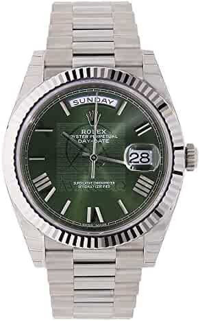 Rolex Day-Date 40 President White Gold Watch 228239 60th Anniversary Green Dial