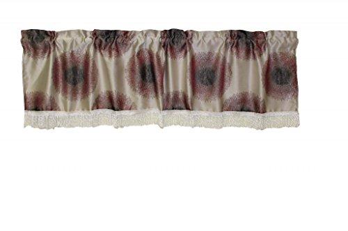 Válvula de Ventana de Lino Violeta con diseño de Damasco clásico, 152,4 x 38,1 cm, Color Lila/Plata