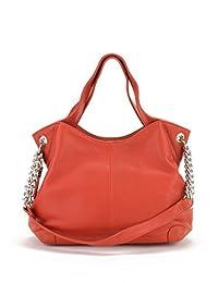 Buxton Sharon Chain Accent Leather Bag Orange