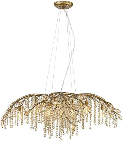 Golden Lighting 9903-12 MG Chandelier with Amber Tinted Leaded Crystal Shades, Mystic Gold Finish