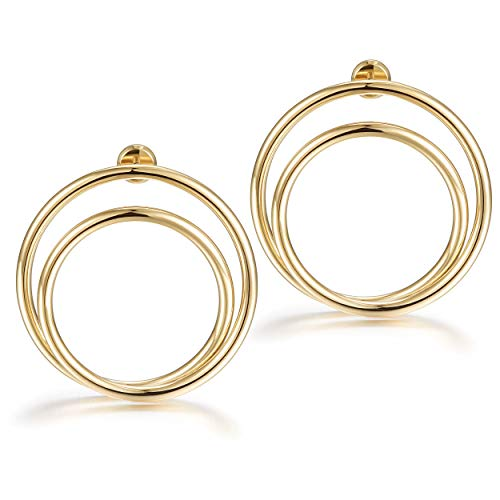 Stud Earrings for Women 14K Gold White Plated Stainless Steel Fashion Double Circle Earrings Round Drop Dangle Earrings Geometric Statement Earrings Jewelry Gift for Women Girls