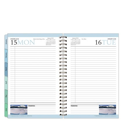 Classic Leadership One-Page-Per-Day 6 Month Wire-bound Planner - Jan 2018 - Jun 2018 Day Wirebound Day Planner