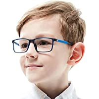 Kids Glasses Teens Frame Smart Looks Flexible Cute Eyewear Frame with Clear Square Lens for Boys Girls(Age 5-12)