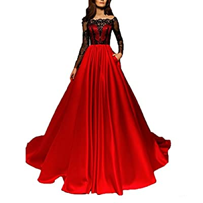 TF Dress Red Long Sleeves Prom Dress Ball Gown Black Lace Appliques Evening Dress