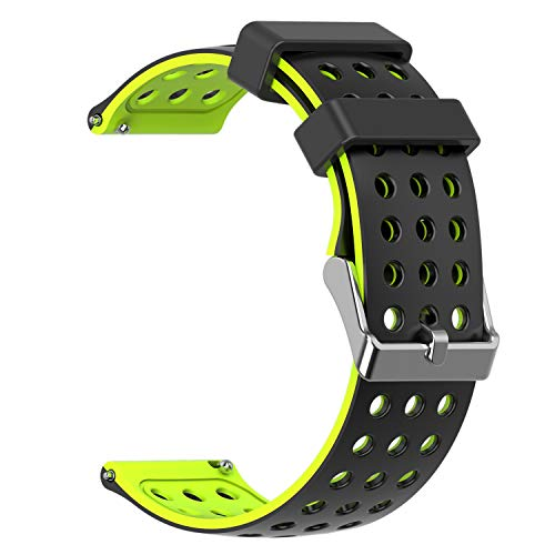 Moretek Quick Release Silicone 18mm Silky Soft Rubber Strap Watch Bands for Huawei Watch/Huawei Fit/Withings Activite or Compatible with Any 18mm Ttraditional Watch Use(BlackYellow)